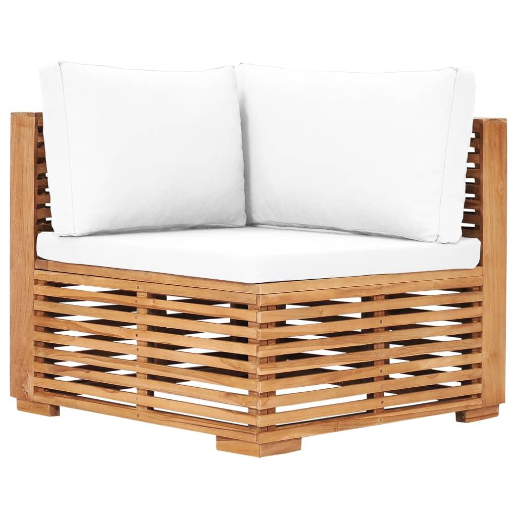 vidaXL Canapé d'angle de jardin avec coussin crème Bois de teck solide