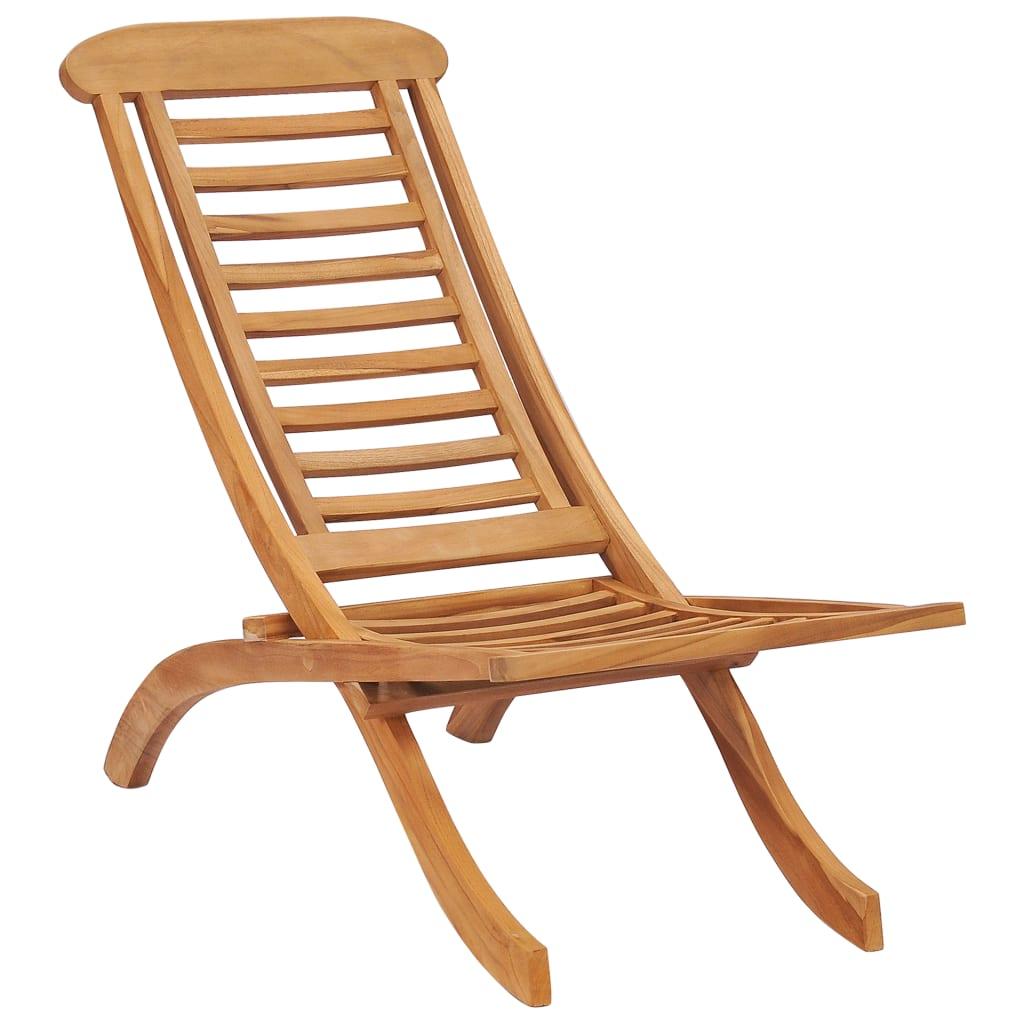vidaXL Chaise pliable de jardin Bois de teck solide