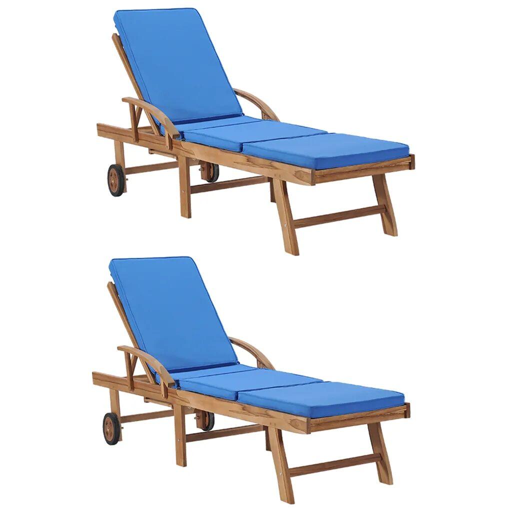 vidaXL Chaises longues avec coussins 2 pcs Bois de teck solide Bleu