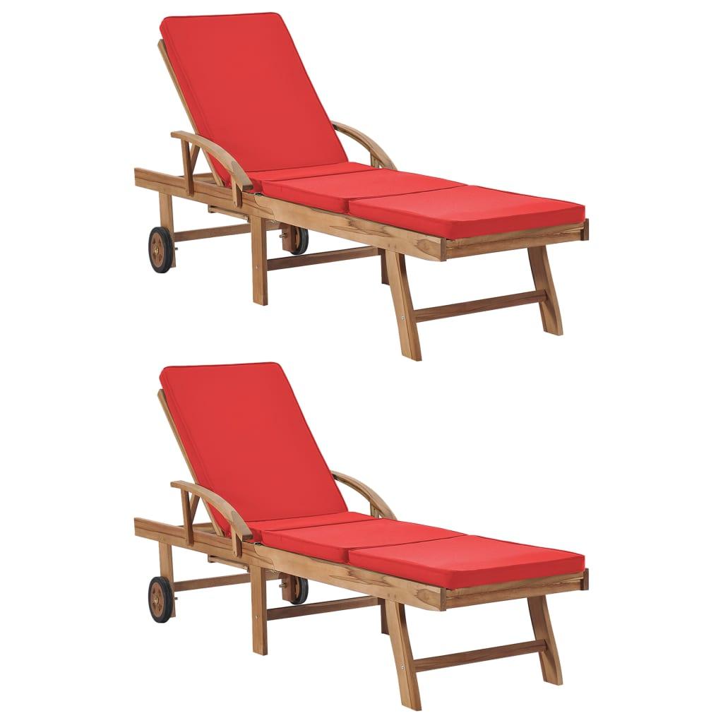 vidaXL Chaises longues avec coussins 2 pcs Bois de teck solide Rouge