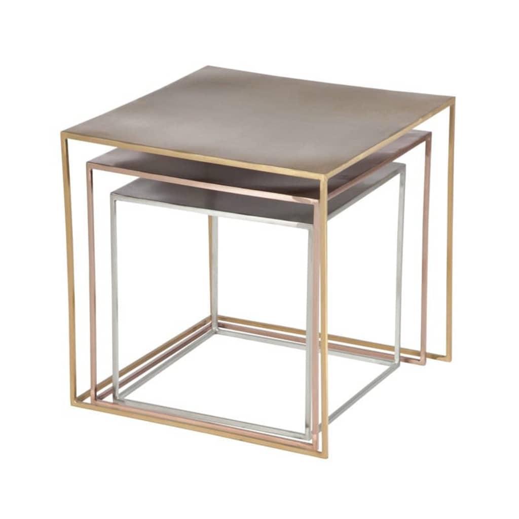 TousMesMeubles Tables gigognes Métal Carrées Argent/Or/Cuivre - BISCO