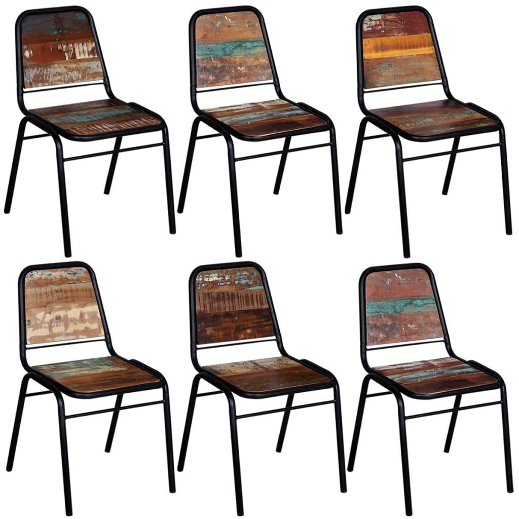 vidaXL Chaises de salle à manger 6 pcs Bois de récupération solide