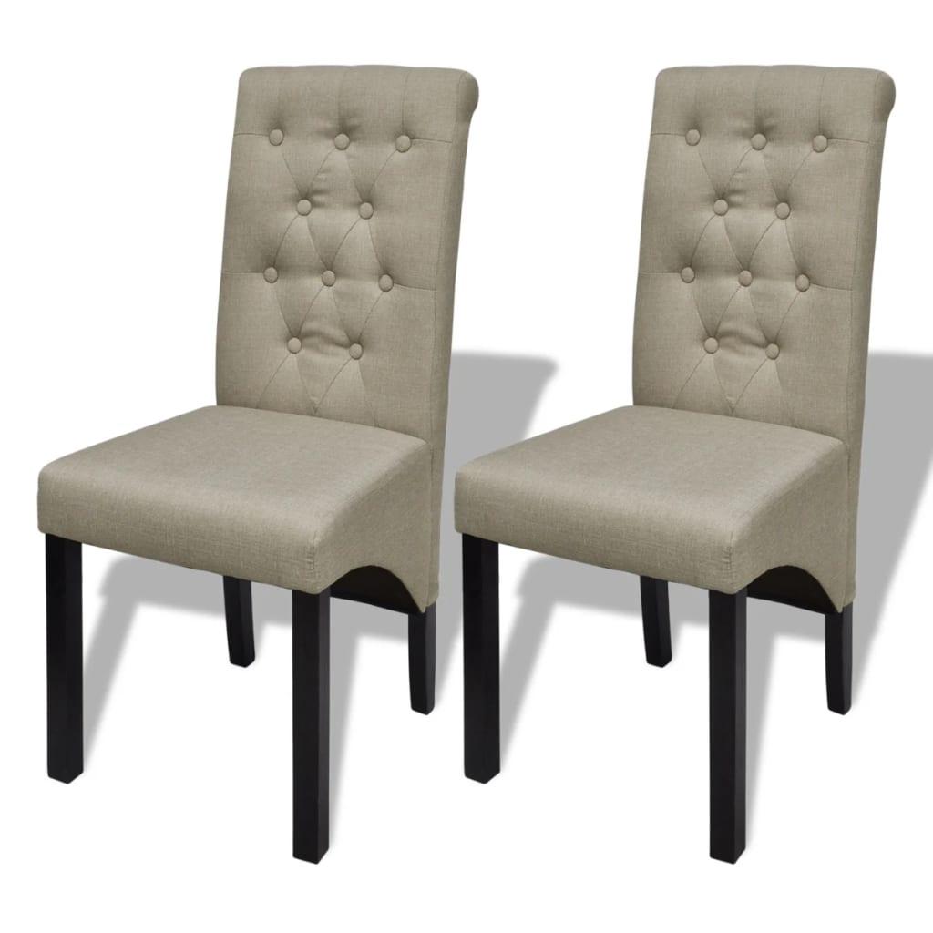 vidaXL Chaises de salle à manger 2 pcs Beige Tissu