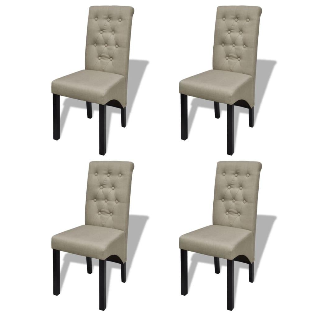 vidaXL Chaises de salle à manger 4 pcs Beige Tissu