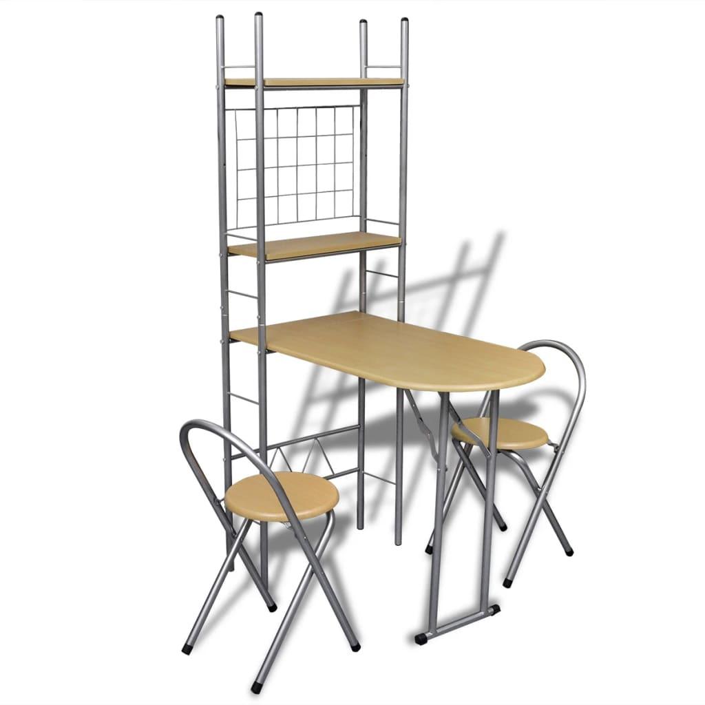 vidaXL Jeu de bar petit-déjeuner pliable avec 2 chaises
