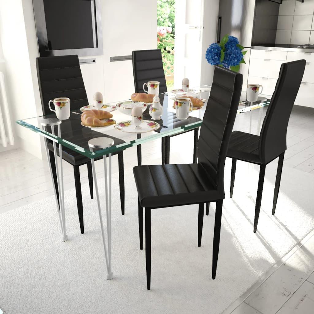 vidaXL Lot de 4 chaises noires aux lignes fines avec une table en verre