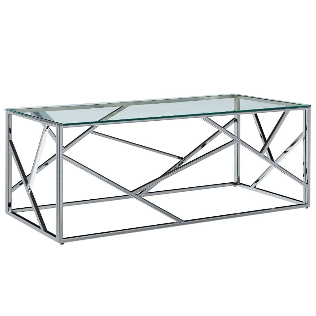 vidaXL Table basse Transparent 120x60x40 cm Verre trempé et inox