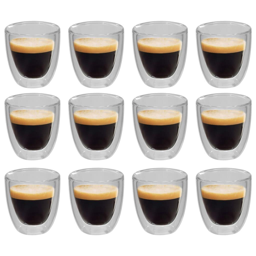 vidaXL Verres thermos à double paroi pour café expresso 12 pcs 80 ml
