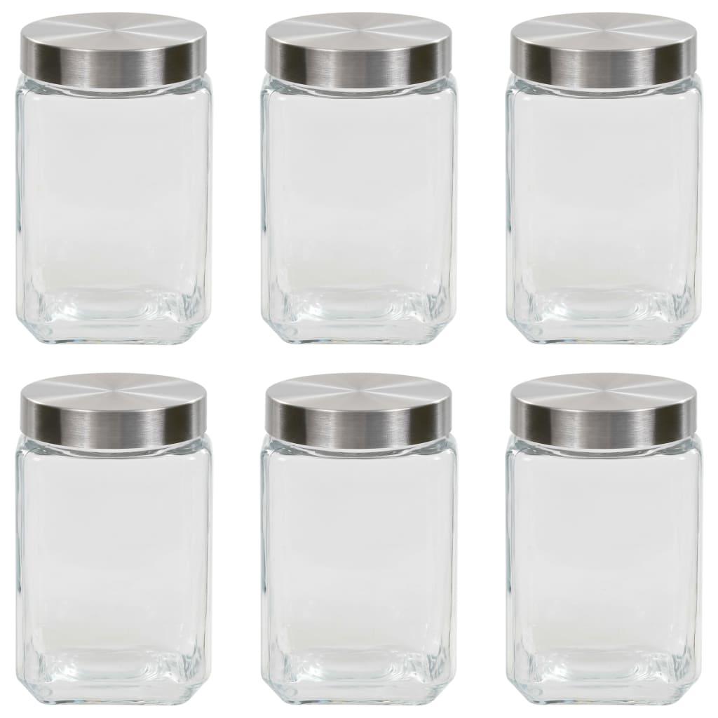 vidaXL Pots de conservation avec couvercle argenté 6 pcs 1700 ml
