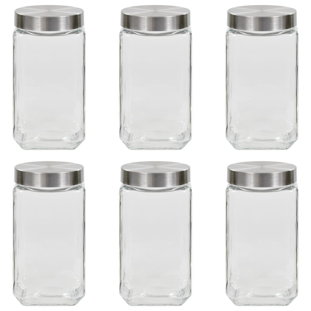 vidaXL Pots de conservation avec couvercle argenté 6 pcs 2100 ml