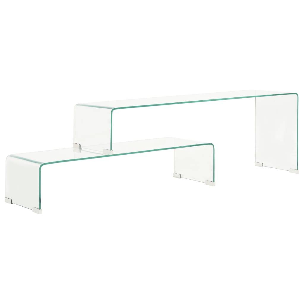 vidaXL Ensemble de table basse 2 pcs 90x30x20/110x30x40cm Verre trempé