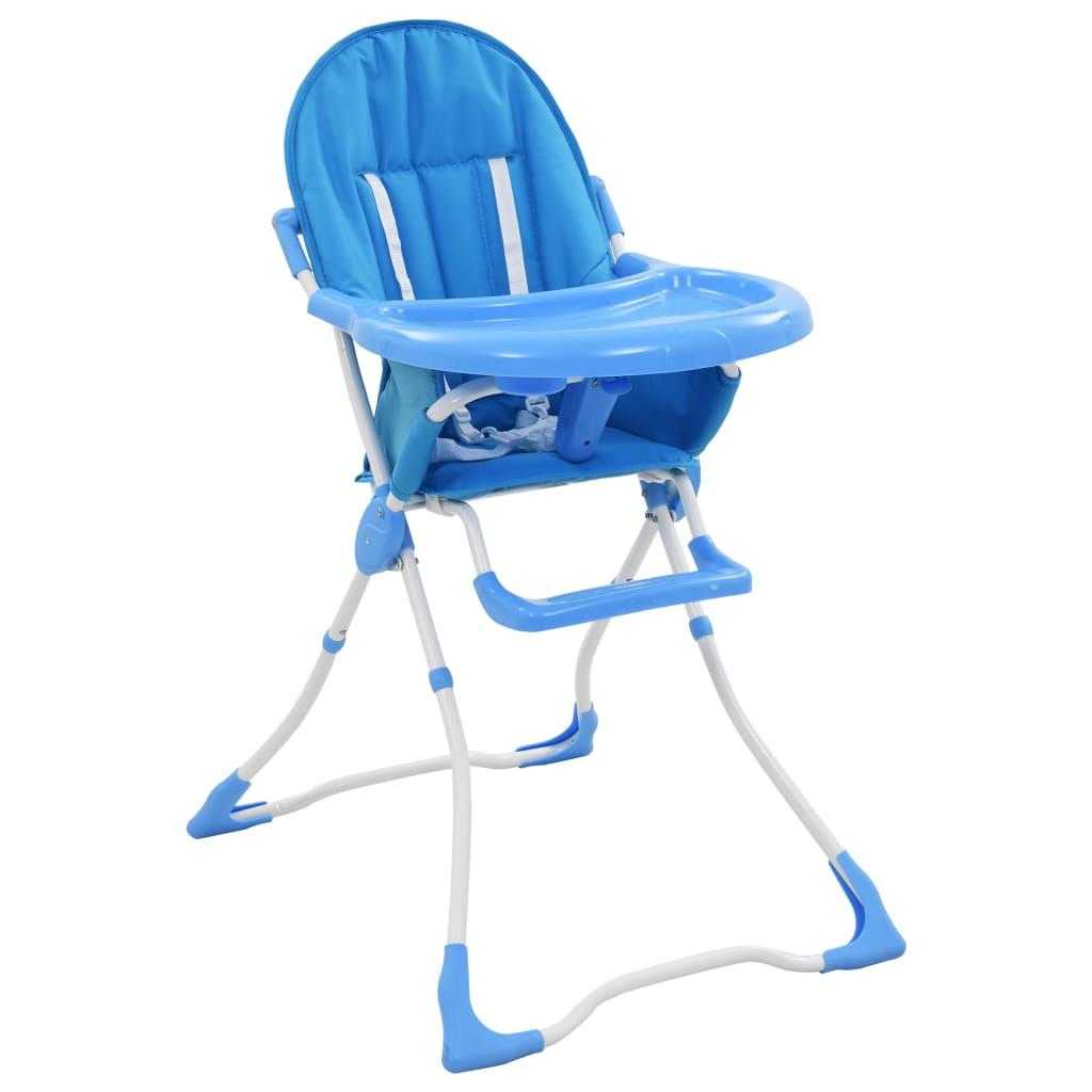 vidaXL Chaise haute pour bébé Bleu et blanc