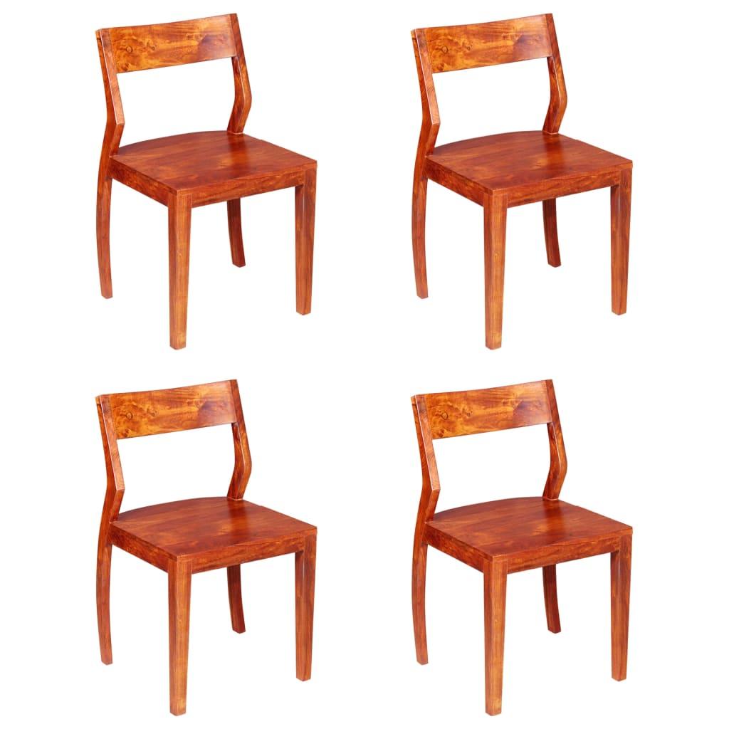 vidaXL Chaises de salle à manger 4 pcs Bois d'acacia massif et Sesham