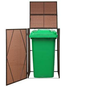 vidaXL Cache-poubelles Résine tressée 76x78x120 cm Marron