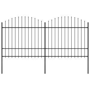vidaXL Clôture de jardin à dessus en lance Acier (1,5-1,75)x3,4 m Noir