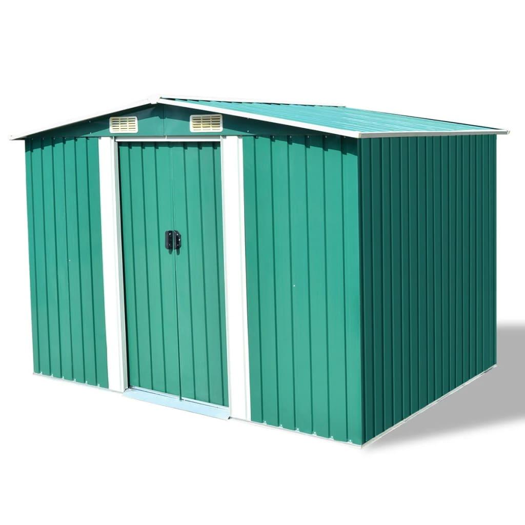 vidaXL Abri de stockage pour jardin Métal Vert 257 x 205 x 178 cm