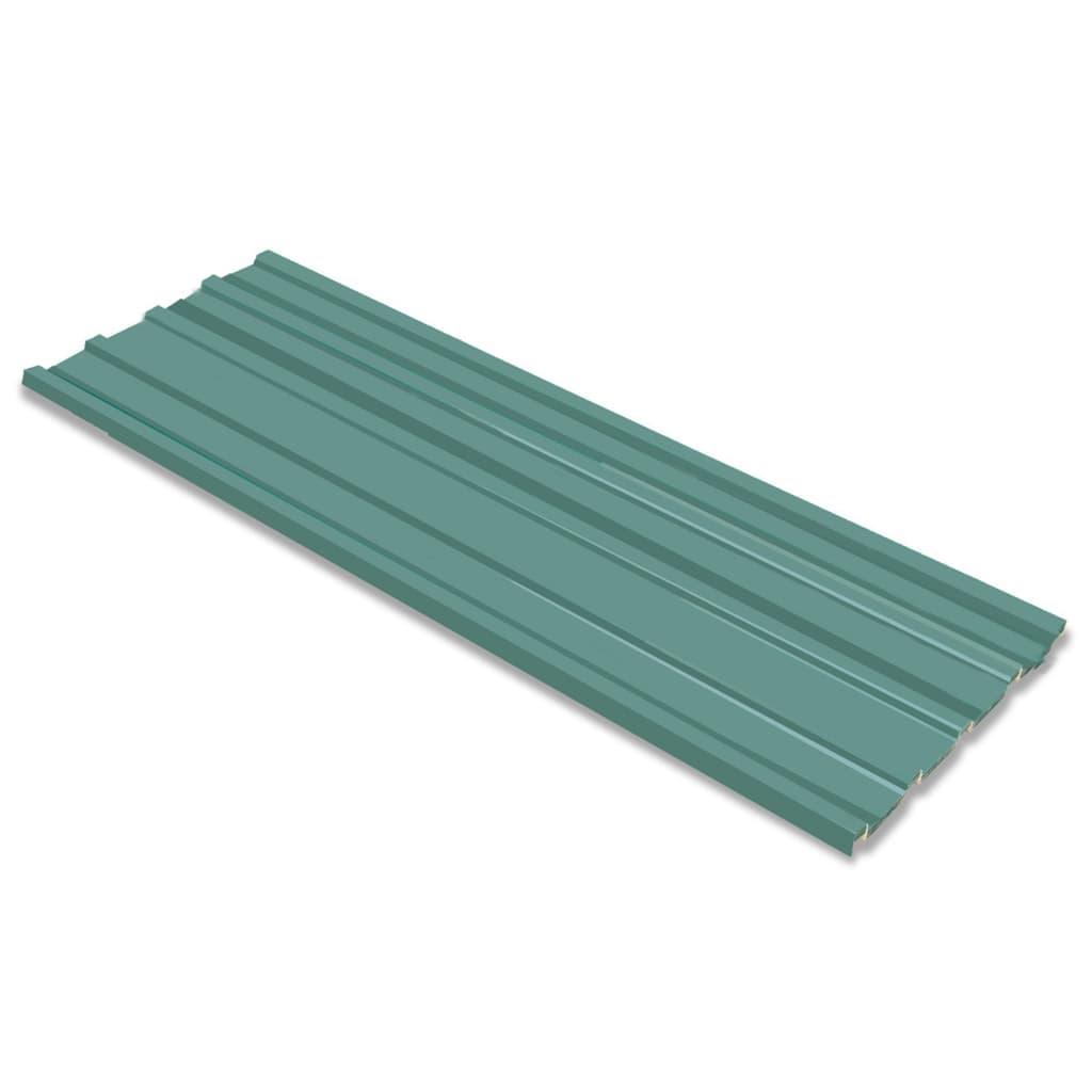 vidaXL Tôle en acier galvanisé 12 pièces Vert