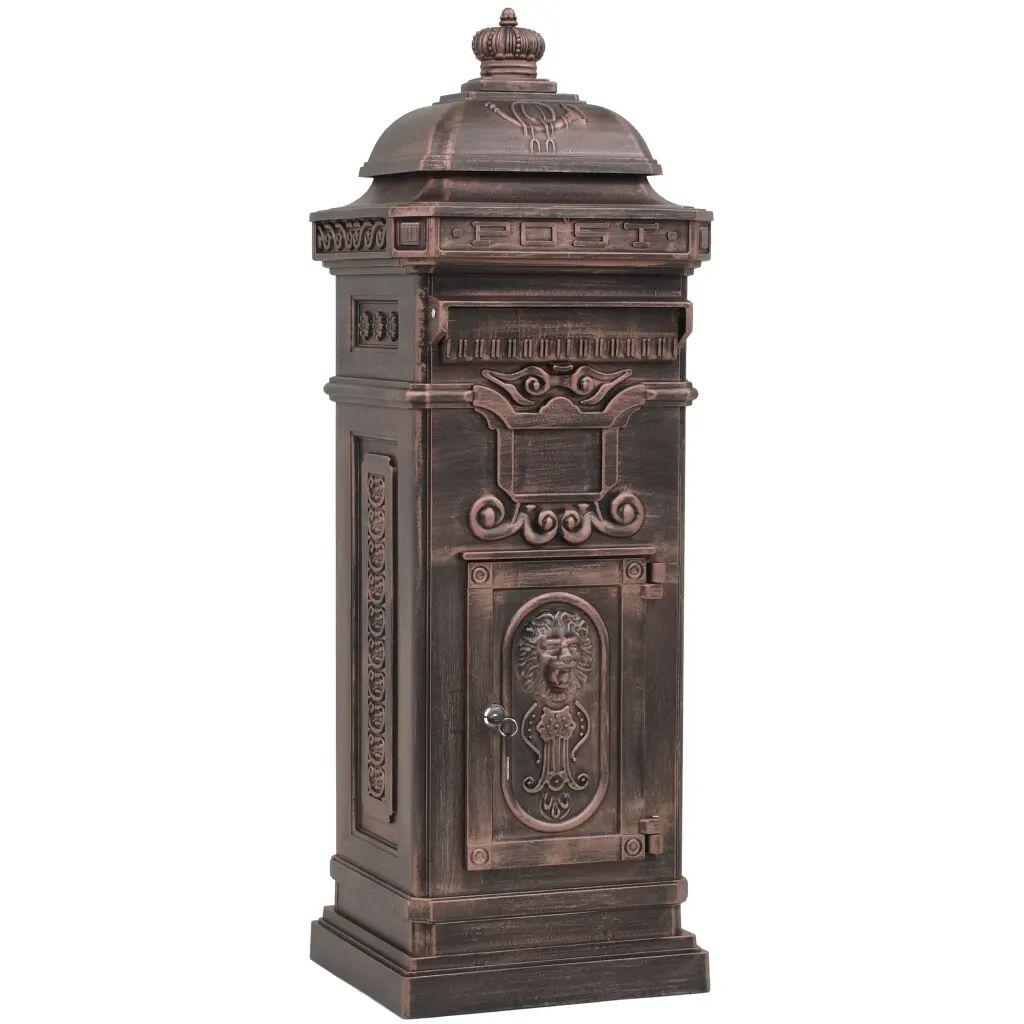 vidaXL Boîte aux lettres à pilier Aluminium Vintage Bronze antirouille