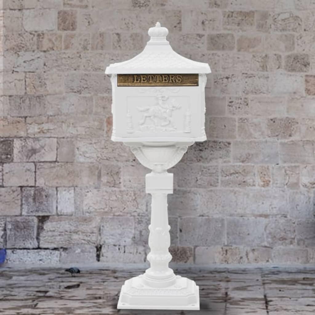 vidaXL Boîte aux lettres sur pied Aluminium Vintage Antirouille Blanc