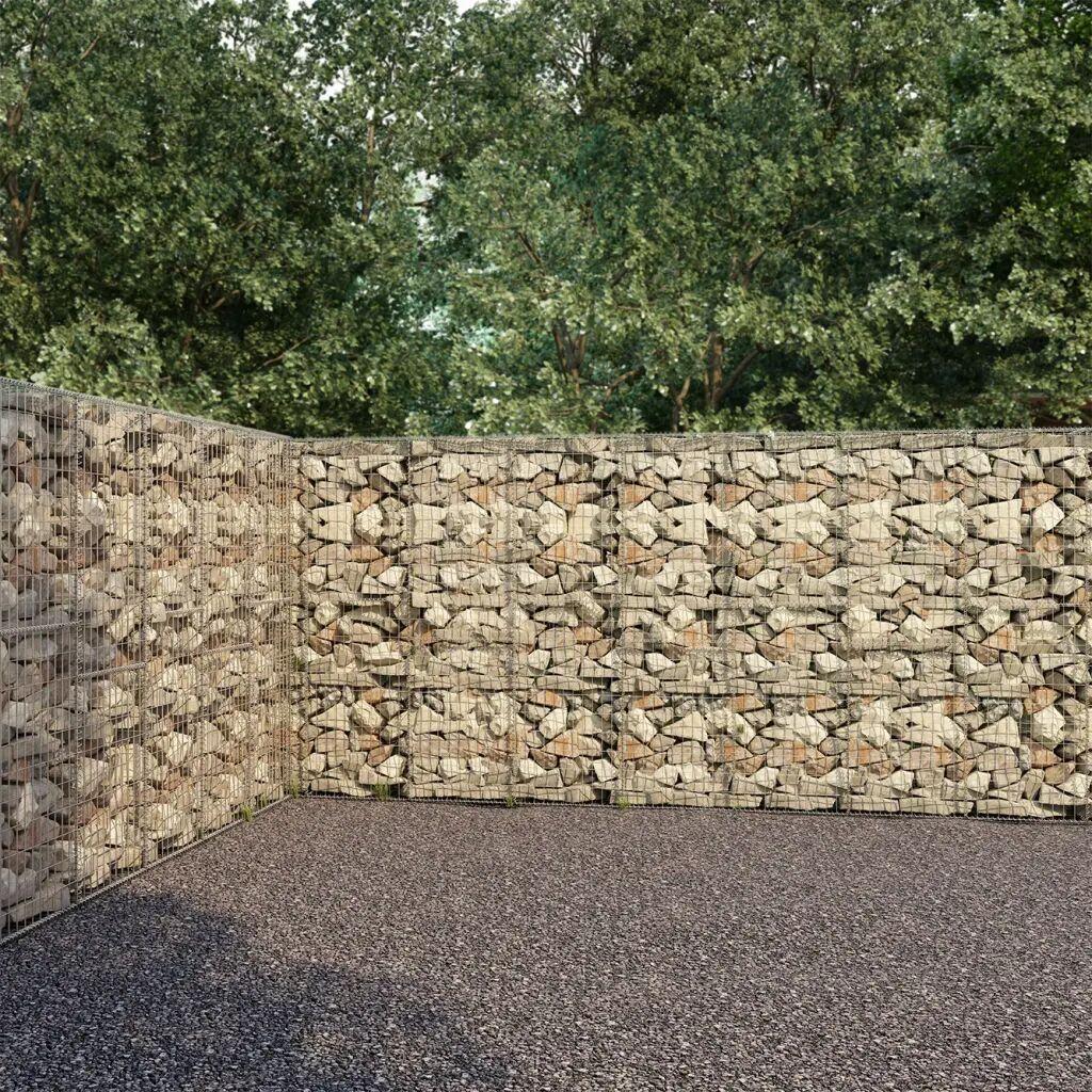 vidaXL Mur à gabion avec couvercles Acier galvanisé 600 x 30 x 200 cm