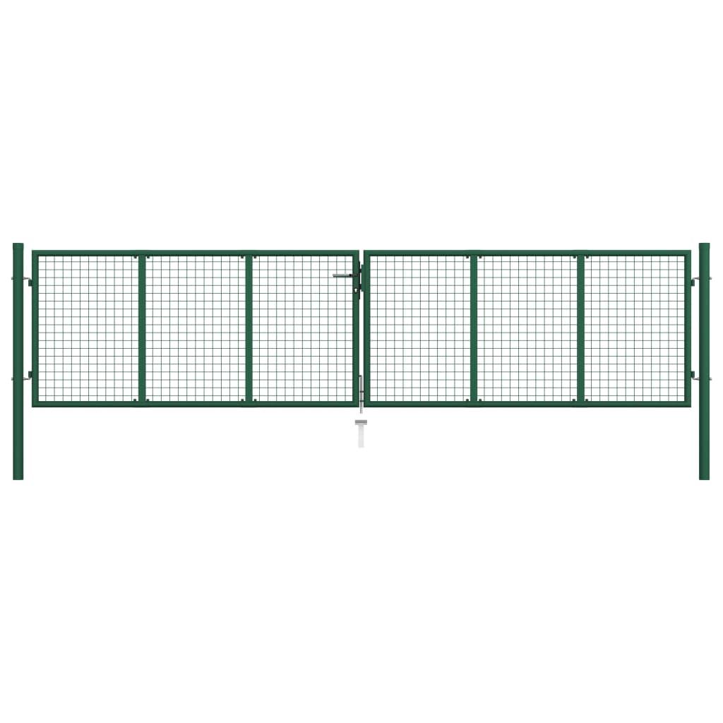 vidaXL Portail en treillis de jardin Acier 400 x 100 cm Vert