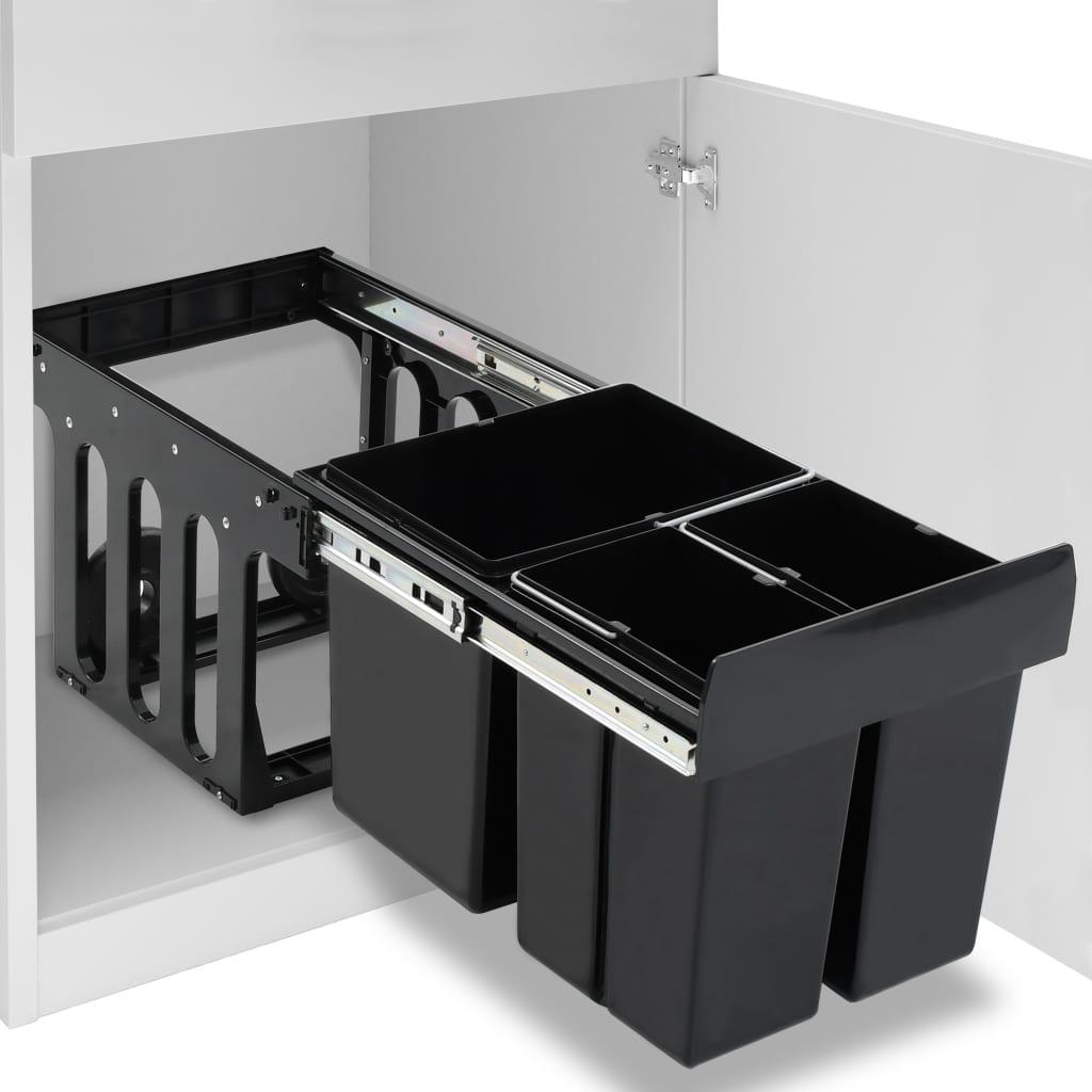 vidaXL Poubelle amovible de cuisine Fermeture en douceur 48 L