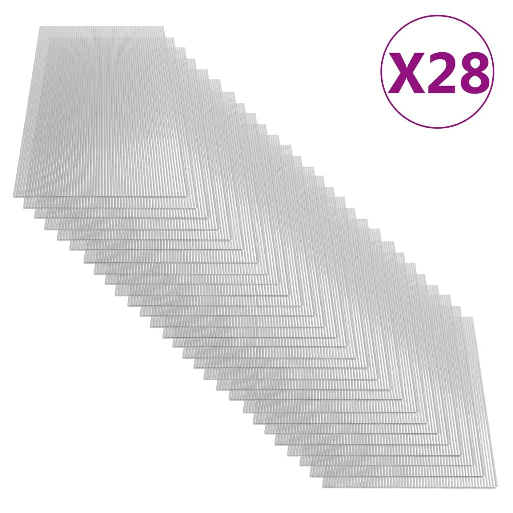 vidaXL Feuilles de polycarbonate 28 pcs 4 mm 121x60 cm
