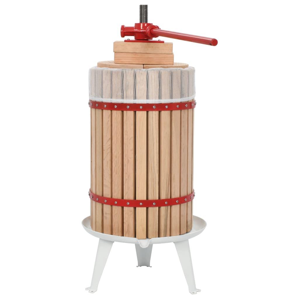 vidaXL Presse-fruits et à vin avec sac en tissu 24 L Bois de chêne