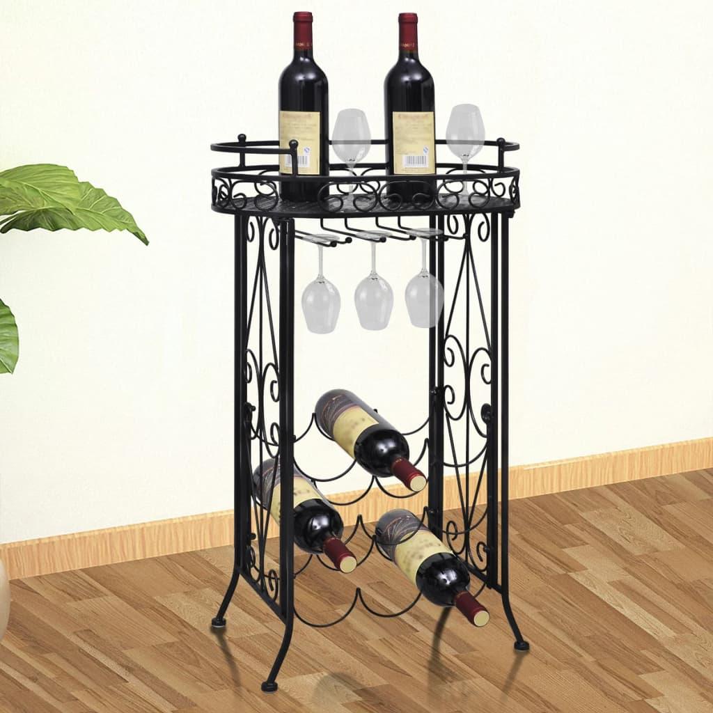 vidaXL Casier à bouteilles avec porte-verre pour 9 bouteilles Métal