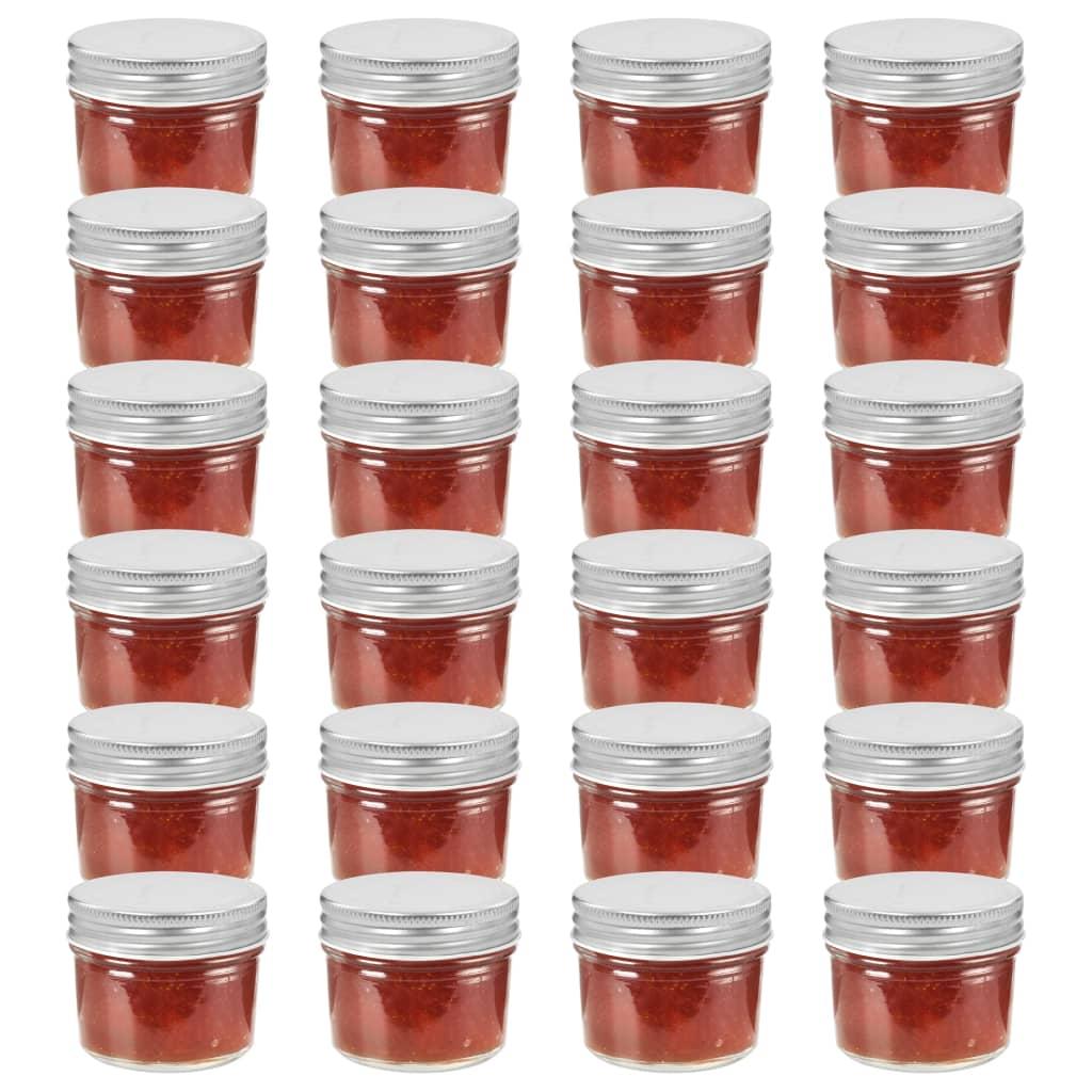 vidaXL 24 pcs Pots à confiture avec couvercles argentés Verre 110 ml