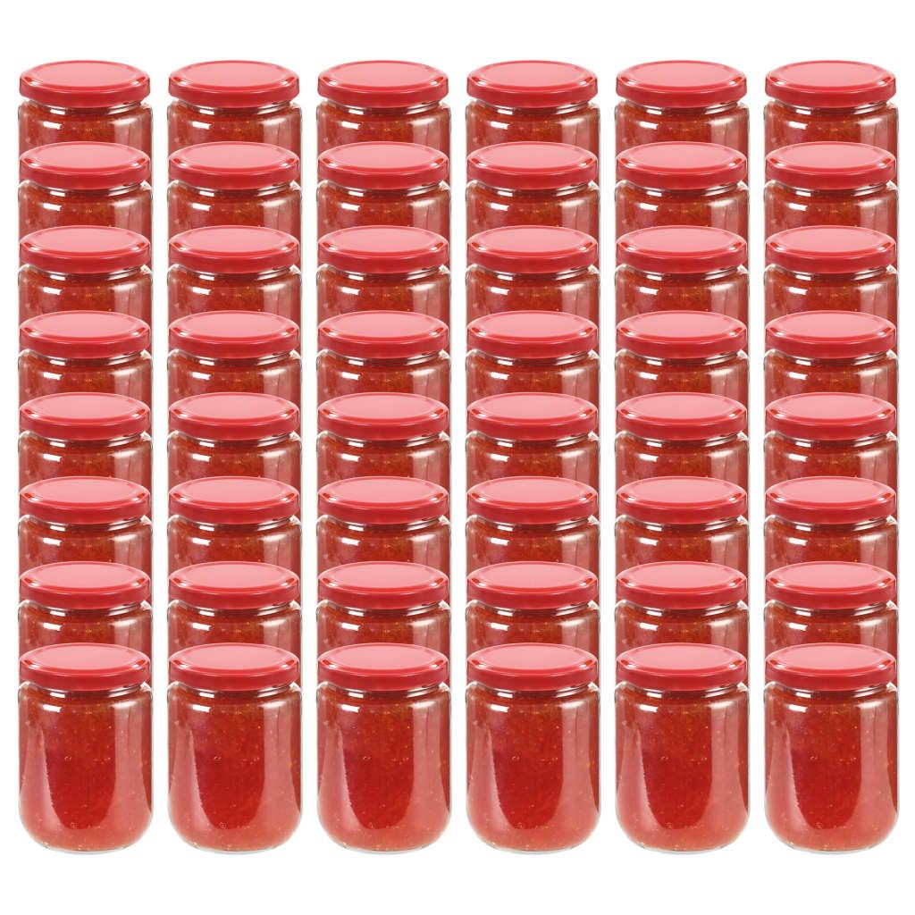vidaXL 48 pcs Pots à confiture avec couvercle rouge Verre 230 ml