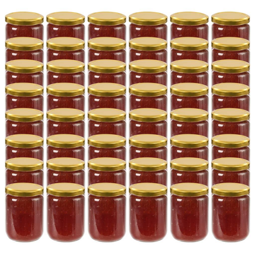 vidaXL 48 pcs Pots à confiture avec couvercle doré Verre 230 ml