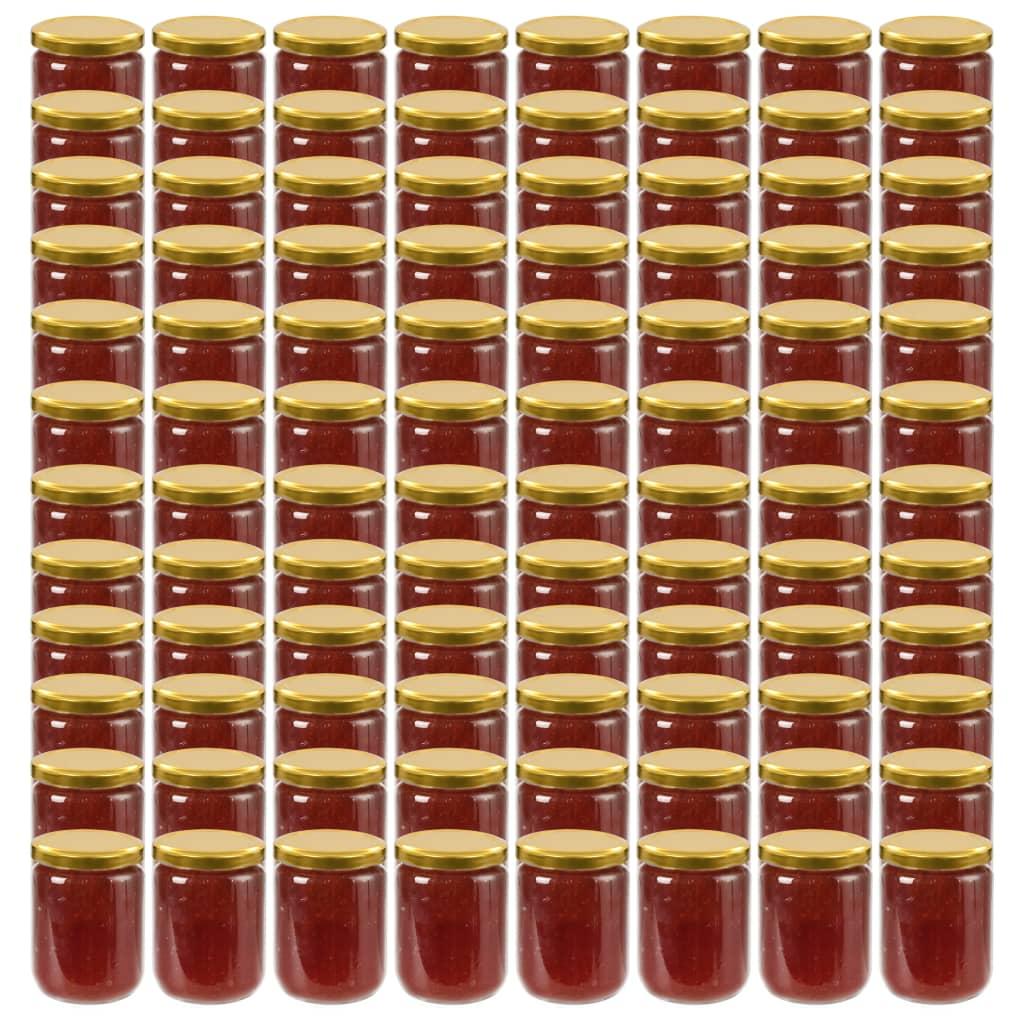 vidaXL Pots à confiture avec couvercle doré 96 pcs Verre 230 ml