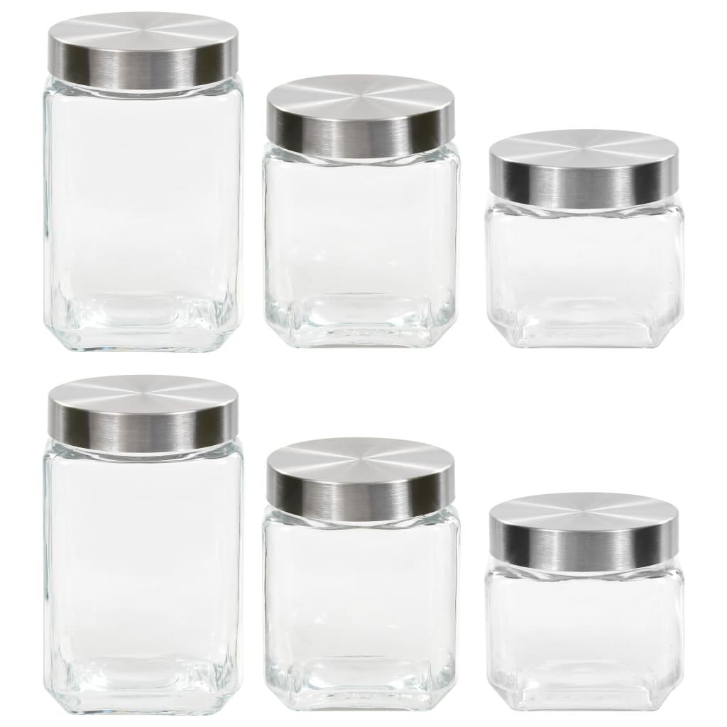 vidaXL Pots de conservation et couvercle argenté 6pcs 800/1200/1700 ml