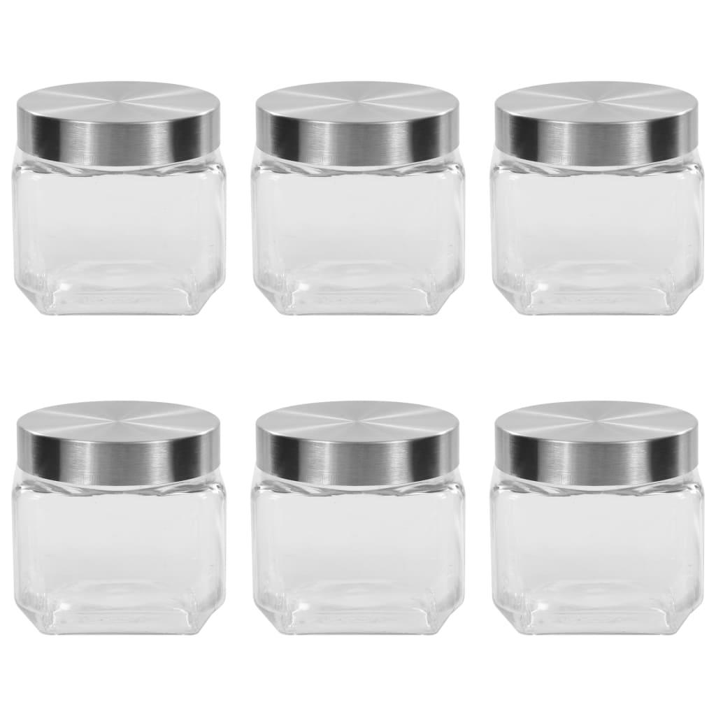 vidaXL Pots de conservation avec couvercle argenté 6 pcs 800 ml