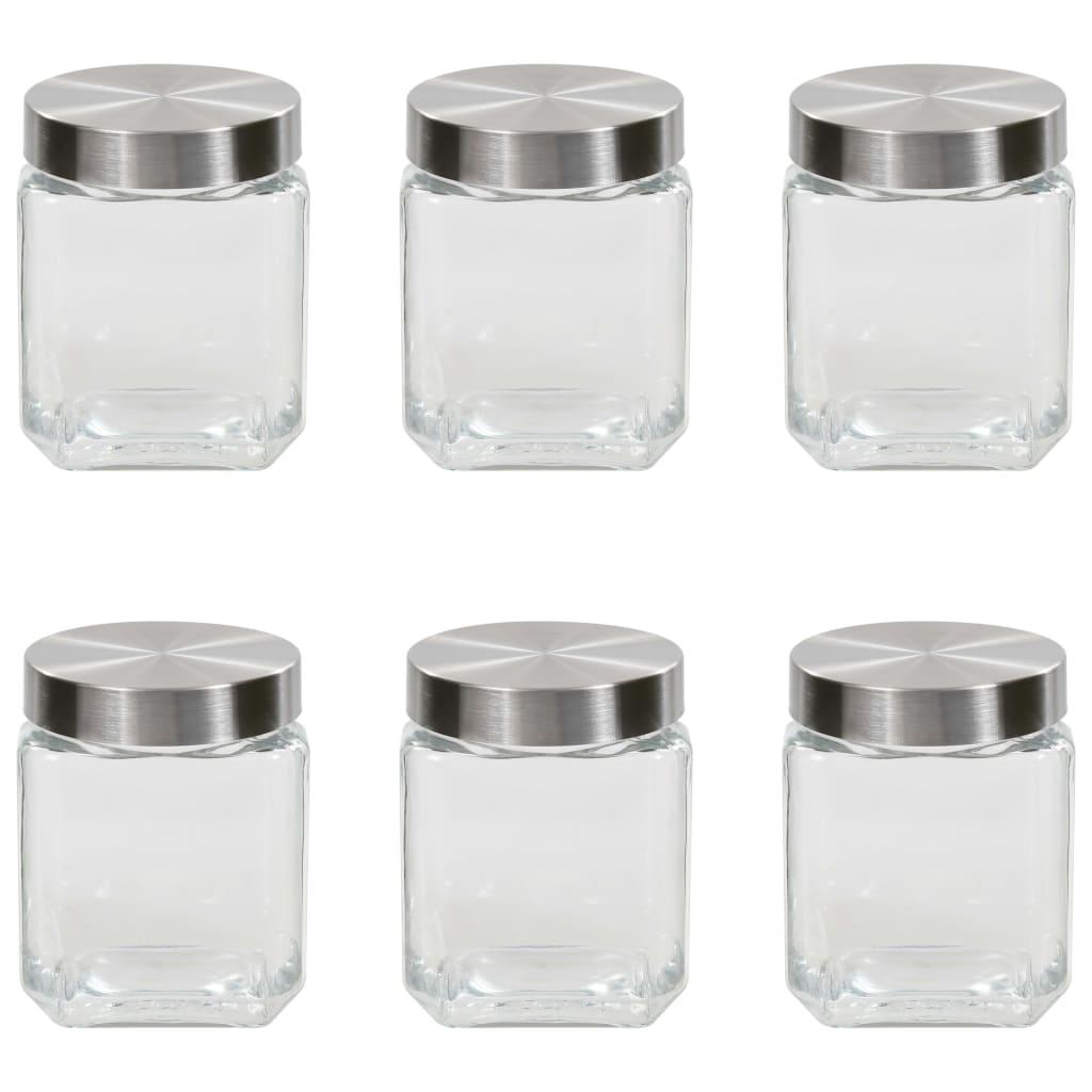 vidaXL Pots de conservation avec couvercle argenté 6 pcs 1200 ml