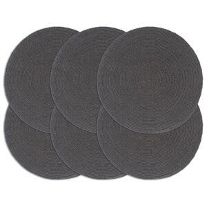 vidaXL Napperons 6 pcs Gris foncé Plain 38 cm Rond Coton