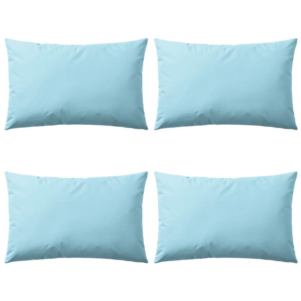 vidaXL Oreiller d'extérieur 4 pcs 60 x 40 cm Bleu clair