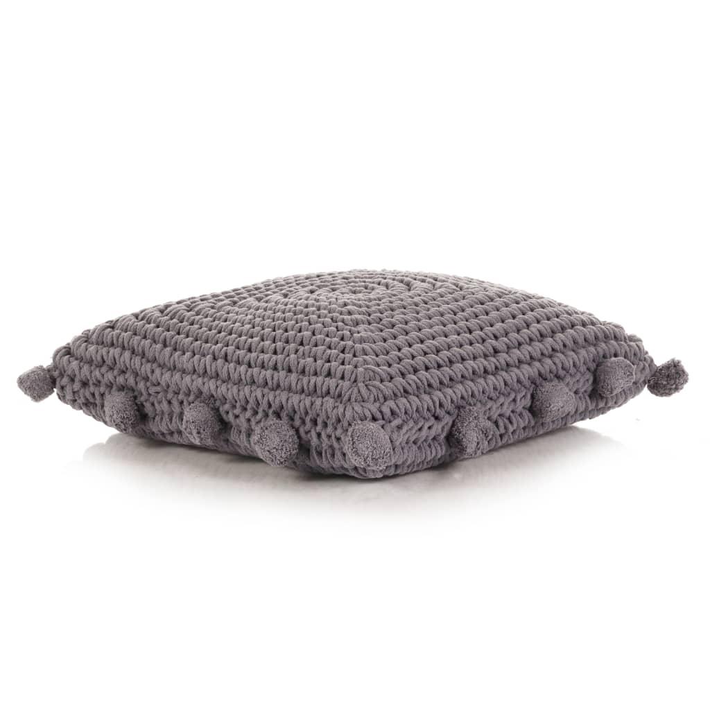 vidaXL Coussin de plancher carré Coton tricoté 50 x 50 cm Gris