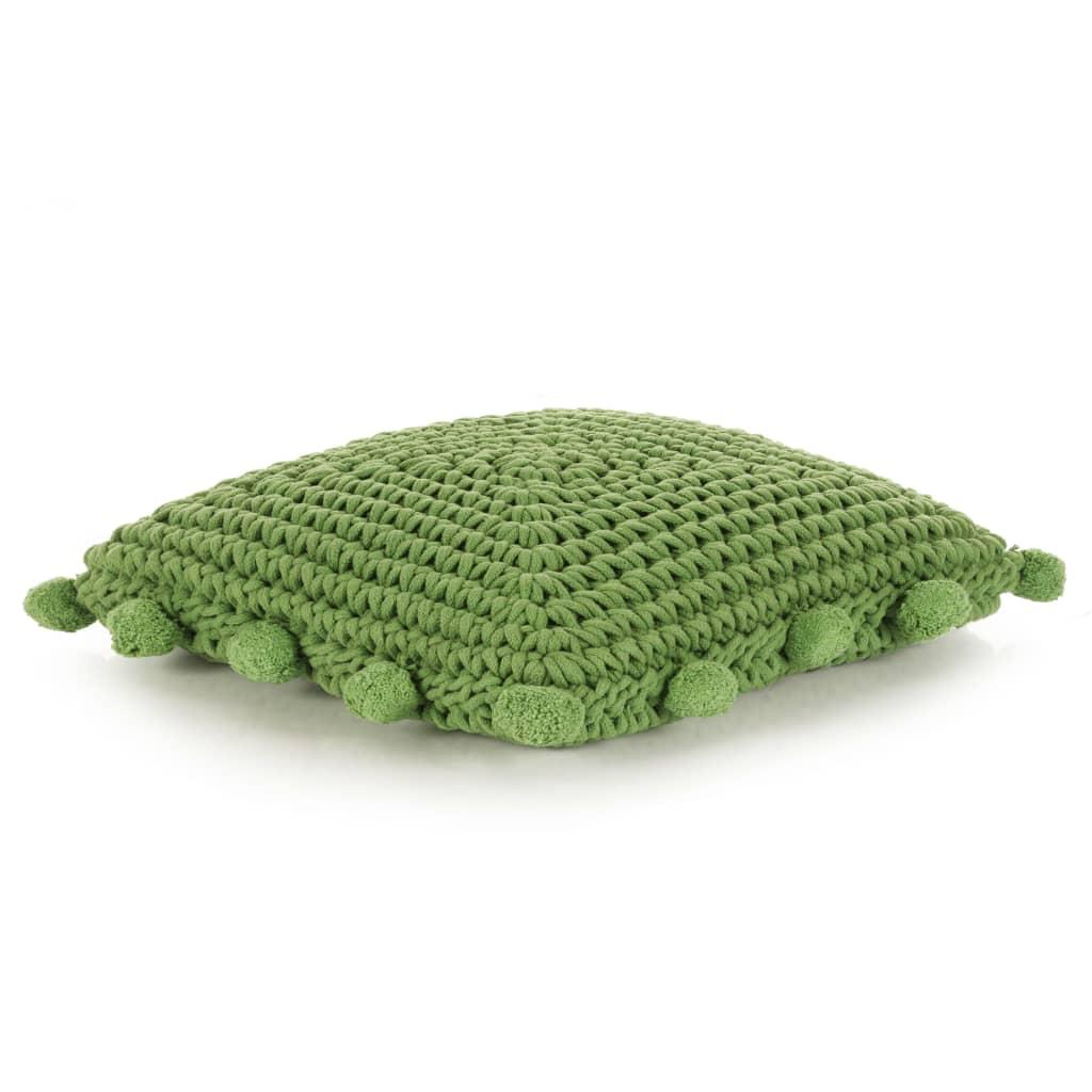 vidaXL Coussin de plancher carré Coton tricoté 50 x 50 cm Vert