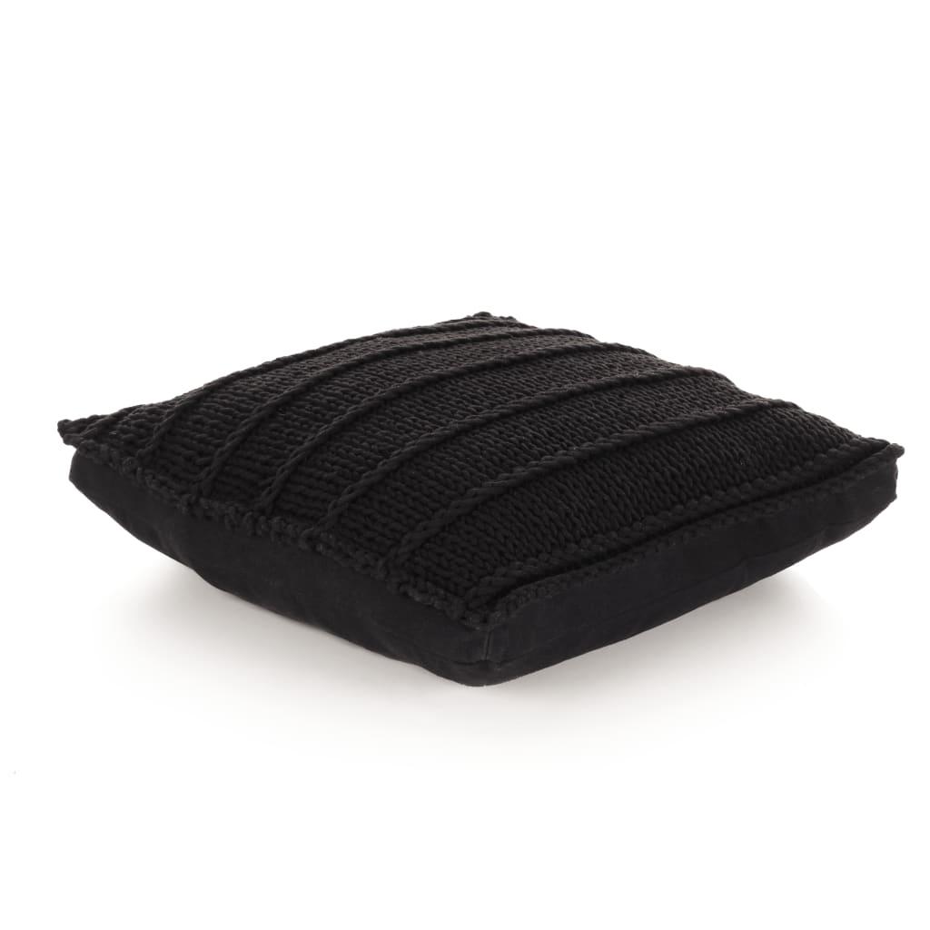 vidaXL Coussin de plancher carré Coton tricoté 60 x 60 cm Noir