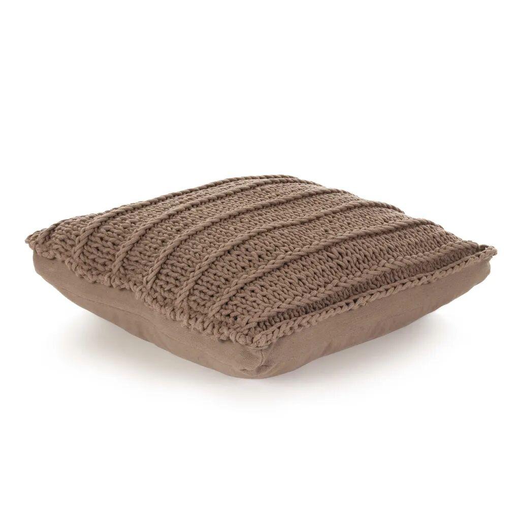 vidaXL Coussin de plancher carré Coton tricoté 60 x 60 cm Marron