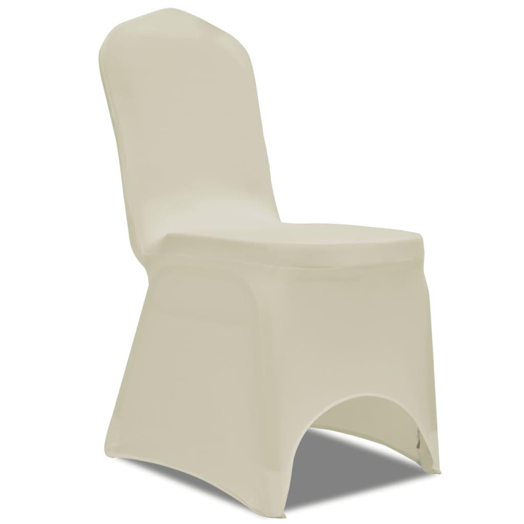 vidaXL 50 housses de chaise extensibles crème