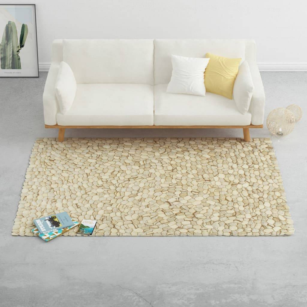 vidaXL Tapis Galet feutre de laine 80x150cm Beige/Gris/Marron/Chocolat