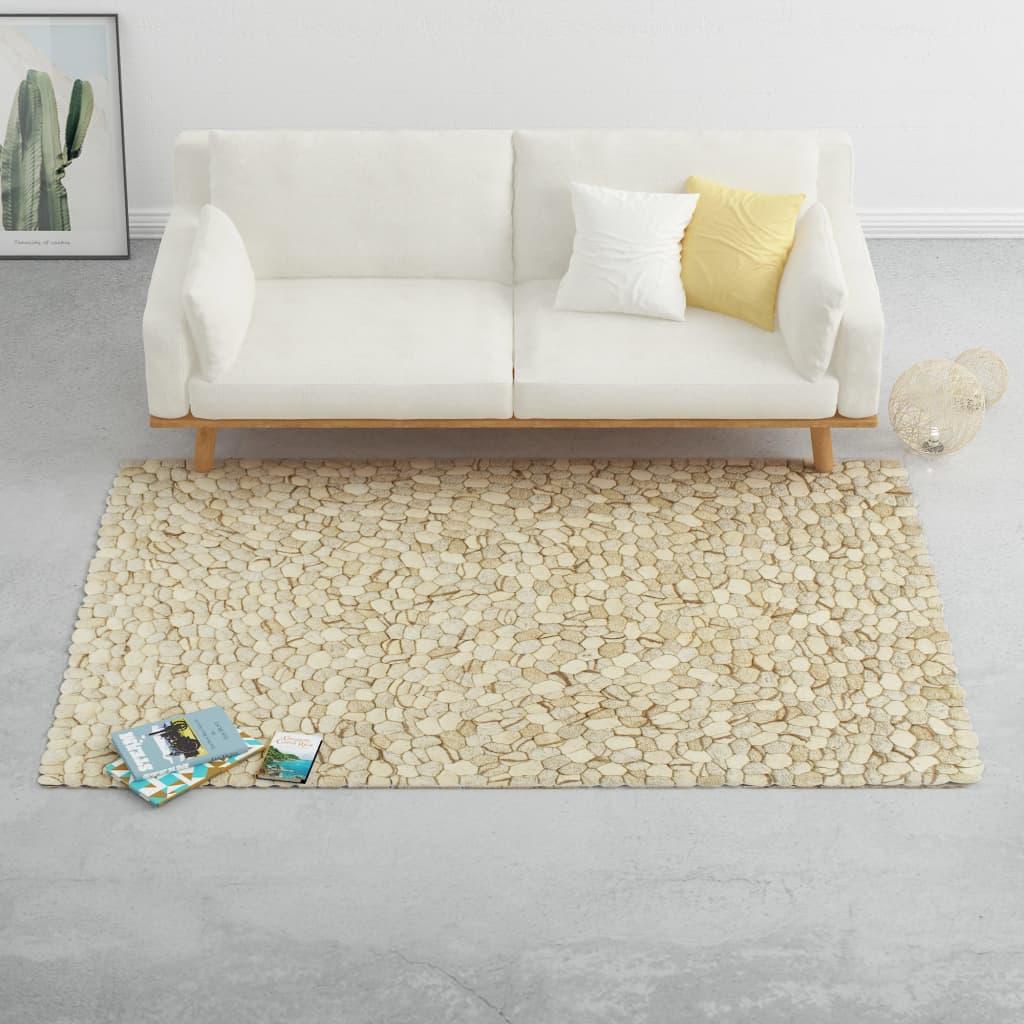 vidaXL Tapis Galet feutre laine 160x230 cm Beige/Gris/Marron/Chocolat