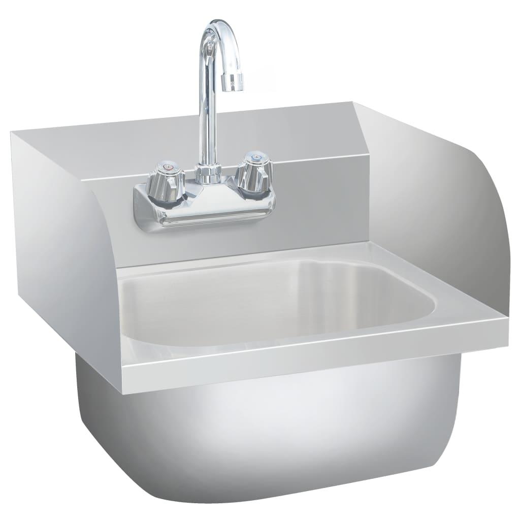 vidaXL Lavabo commercial de lavage des mains avec robinet Inox