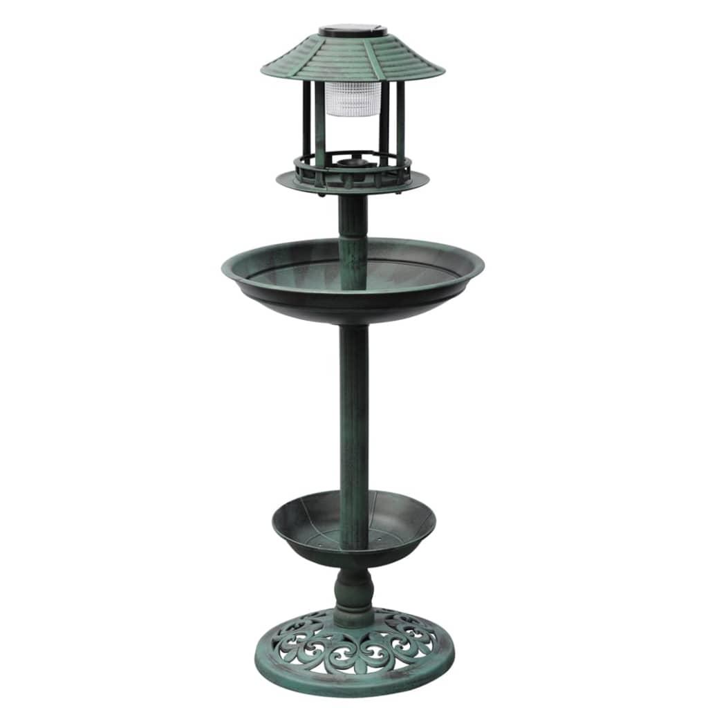 vidaXL Fontaine bain d'oiseaux verte avec lampe solaire