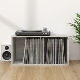 vidaXL Boîte de rangement de vinyles Gris cement 71x34x36 cm Aggloméré