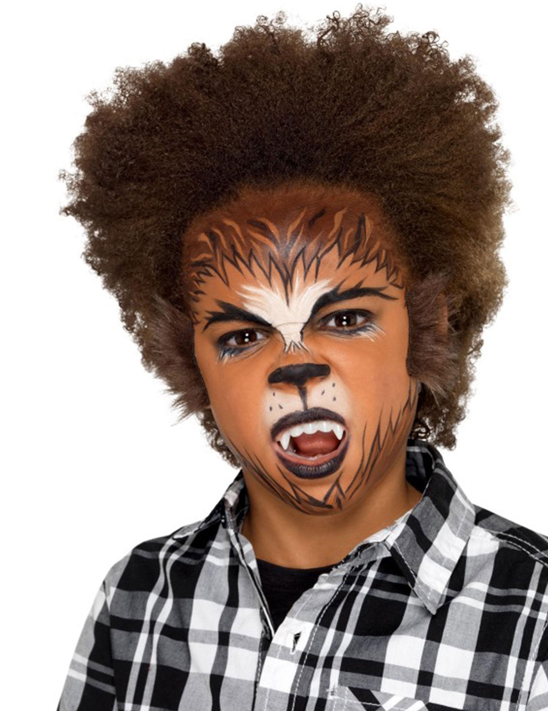 Deguisetoi Kit maquillage loup-garou avec fausse fourrure enfant