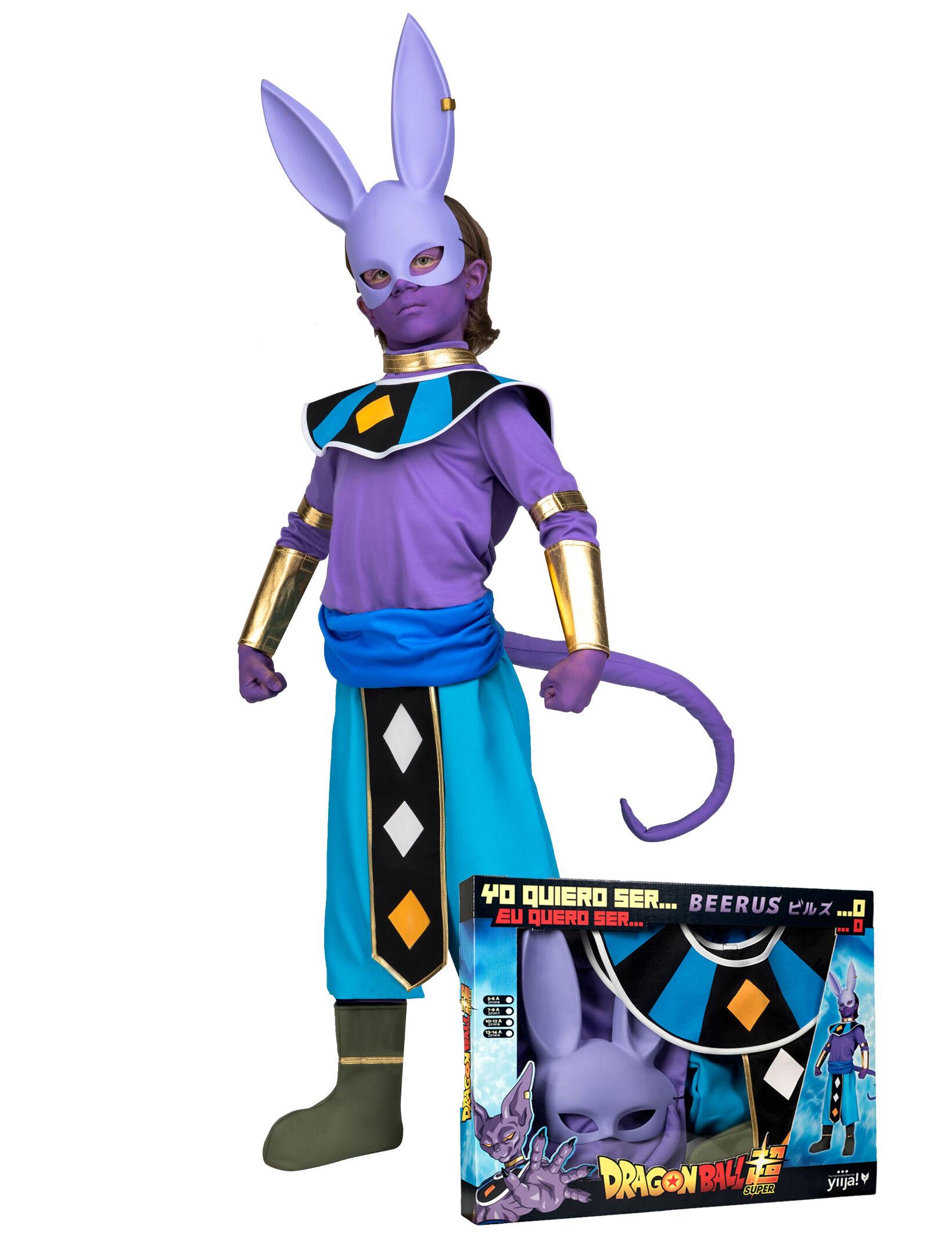 Deguisetoi Coffret déguisement avec masque Beerus Dragon Ball enfant - Taille: 10 - 12 ans (140 - 152 cm)